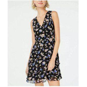 Bar III Black Mid-Length Floral Dress Size 12 NWOT
